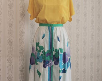 Vintage Floreal Skirt from 1980
