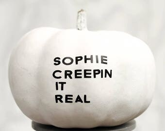 Creepy Personalised Name Halloween Pumpkin Sticker