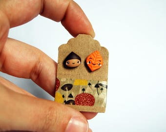 Studs chestnut and orange Leaf in fimo-Kawaii Collection Autumn