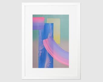 Abstract geometric art, Contemporary pastel home decor, Original Art, Mixed Media Art, Psychedelic, Contemporary Art, Neon