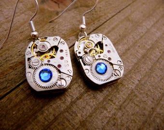 Blue Rectangle Gear Earrings