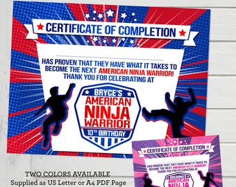 American Ninja Warrior Certificate Thank you Favor for ANW Birthday Party Participation Certificate of Completion Girls or Boys Australian