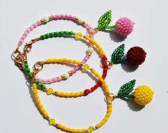 Beaded Bracelets for women fruit bracelet Cherry jewelry Friendship Bracelet Fruit charms Bracelets charms Beads bracelets