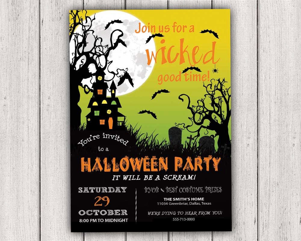details join us for a wicked good time halloween party invitation - Homemade Halloween Party Invitations