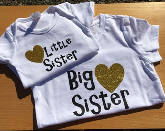 Big sister little sister set, shirt and bodysuit set, siblings shirt set, big and little shirts