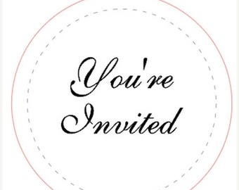 48 x personalised wedding you're invited invitation stickers labels seals