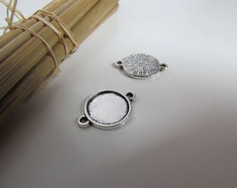 10 connectors for cabochon 12 mm antiqued silver - hole 1.5 mm - ref 67.18