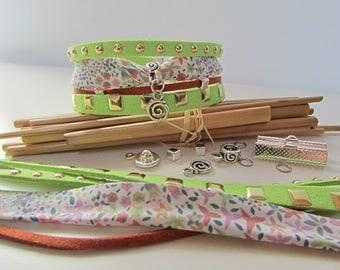 Bright green Cuff Bracelet Kit bead Silver Clasp - 142