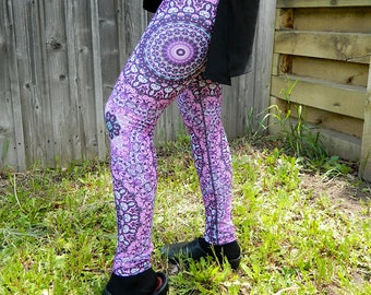 Flower Pattern Yoga Tights - Purple and Gray Mandala Leggings, Art Leggings, Yoga Pants