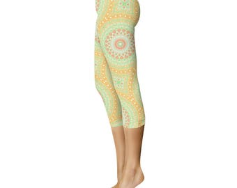 Summer Capris - Green and Yellow Spring Leggings, Abstract Watermelon Yoga Pants for Women