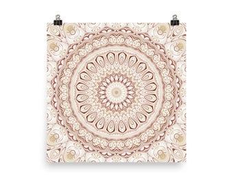 Home Decor Accents, Neutral Colors, Beige Mandala Wall Art, Poster Prints