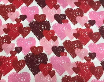 red pink heart valentines day fabric on a white background novelty fabric valentine