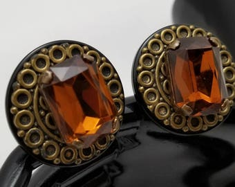 Large Faux Brown Topaz Earrings