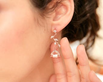 Cubic Zirconia Bridal Earrings CZ Branch And Cushion Cut Bridal Earrings, Bridal Earrings, Rose gold Earring, French jewelry