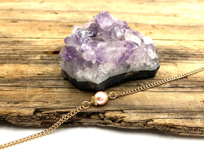 COLLEEN: simple pink and gold faux pearl choker