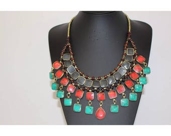 Afghan Multicolor Statement Necklace Fashion Jewellery