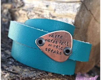 Turquoise wrap leather cuff bracelet with copper guitar pick handstamped metal where words fail music speak adjustable to wrist