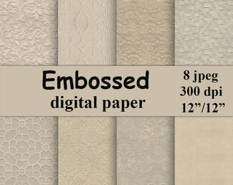 Embossed digital paper Beige Digital Paper Pack champagne paper Instant download