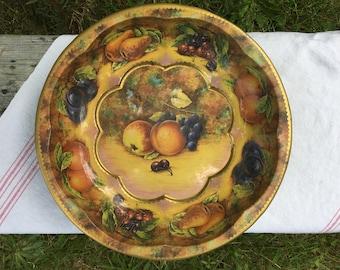 Vintage Daher Fruit Motif Metal Serving Tray, Rustic, Farmhouse, Cottage Decor
