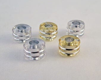 INT149 - Set of 15 beads-hollow Gold Silver clear 8mm X 6 mm