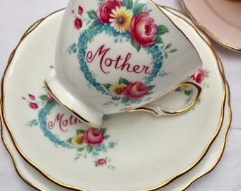 Oh So Pretty Vintage Royal Vale 'Mother' Teacup, Saucer and Plate, Perfect