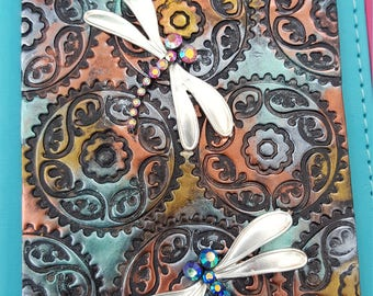 Polymer clay dragonfly journal