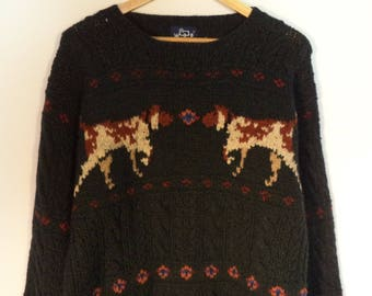 Woolrich hunting dog sweater// Vintage Fall outdoor ski holiday wool pullover// Men's size large L