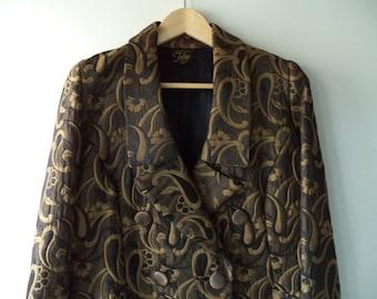 2 piece show stopper skirt n jacket// Bronze metallic black paisley metallic winter formal dress suit// 80s vintage Julay USA// Women 10 M