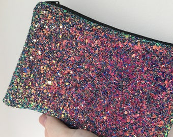 Unicorn glitter clutch, pink bag, pink evening bag