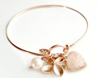 Personalized Bridesmaids Bracelet | Maid of Honor Bracelet | Flower Pearl | Heart Bracelet | Wedding Bracelet | Bridal Bracelet