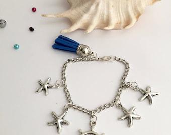 Marine bracelet, starfish bracelet, anchor bracelet, summer bracelet, silver bracelet, chain bracelet and beads, handmade jewelry
