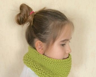 Snood neck kids lime green color
