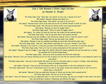 Just a Talk Between a Fallen Angel and God - Printable Poetry Instant Download