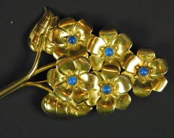 Vintage Bouquet of Flowers Lapel Pin Brooch Gold Tone with Blue Faux Sapphires Gardening Horticulture