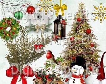50% Off Sale: Christmas Clip Art Elements  Christmas clipart  Holiday  Christmas Bells Ornaments Snowflake Christmas Graphics Snowman clipar