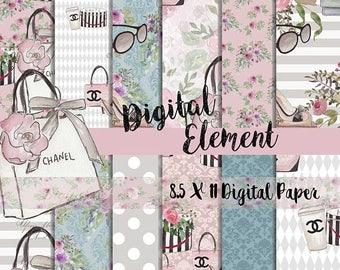 ON SALE Digital Paper, Digital Fashion Paper, Digital Scrapbook Paper, Watercolor Fashion Paper, 8.5 x 11 Scrapbook Paper. No. P201