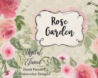 Pink Rose Clip-art, Watercolor Rose Clip-art, Pink Roses, Coral Pink Rosa, Shabby Chic Rose Garden. No. WC87