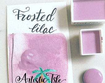 Frosted Lilac, purple, lilac, handmade, Watercolor, handmade paint, artist paint watercolors, organic, mica powder, glite, sparkle,