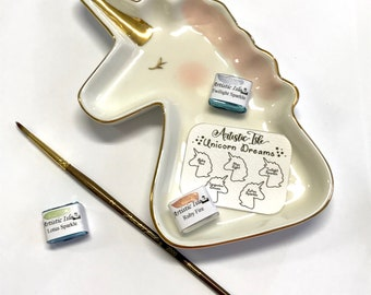 Ceramic Unicorn dish, unicorn, soap dish, paint palette, palette, watercolor, paint, dish, porcelain