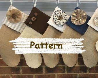 Christmas Stocking Pattern - DIY Stocking - Burlap Stocking - DIY Christmas - Sew a Stocking - Handmade Christmas