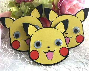 Pikachu Birthday Party Invitation, Pokemon party invitation, Pikachu theme party, Handmade Birthday invitations, SET OF 10 Invitations