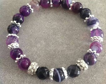 "Energized bracelet ""Purple Soul"" Purple Agate and onyx faceted"