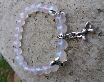 Please Bracelet énergétisé, well-being, spirituality angel quartz / iridescent pink, bows