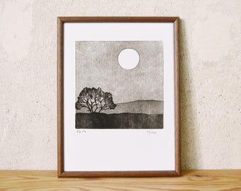 moon series 11 · original linocut · Limited Edition · DIN A5