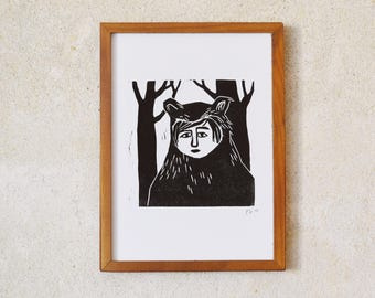 bear person · original linocut · Limited Edition · DIN A5