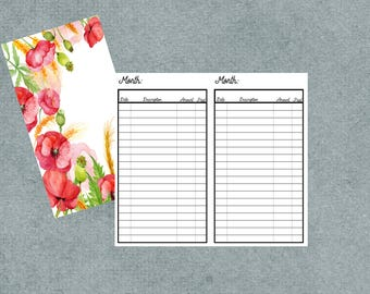 Travelers Notebook Personal Size Bill Tracker Insert-Flower Cover Personal Bill Tracker-Travelers Notebook Personal Size Insert-Bill Tracker