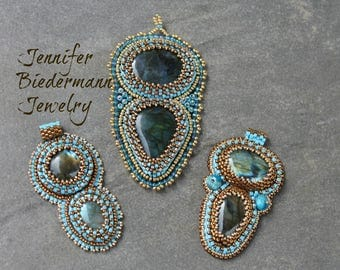 PDF Tutorial, Bead embroidery dual labrarodite pendant tutorial