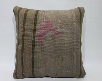 Vintage Kilim Pillow Cover 16x16 Made in Turkey Kilim Pillow Cover 16x16 Throw Pillow Cushion Cover  2728