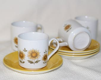 Johnson Brothers - Cups and Saucers - Set of 4 - Yellow Floral
