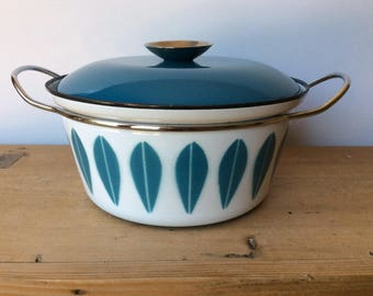 """Cathrineholm Blue Turquoise Lotus Enamelware Stock Pot Dutch Oven Norway 9 3/4"""" Excellent"""